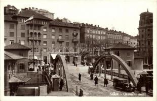 Fiume, Rijeka, Susak; Granicni most / Határhíd katonákkal és automobillal / border bridge, soldiers, automobile