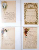 cca 1850-1860 Díszes levélpapírok, 8 db., litográfia, jó állapotban.