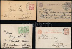 1900-1918 8 db küldemény, közte 4 db külföldre, zárt levelezőlapok, ajánlott levél és postautalvány