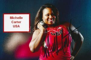 Michelle Carter olimpiai bajnok súlylökő saját kézzel aláírt fotója / Autograph signed photo of Olympic Games contestant 16x10 cm