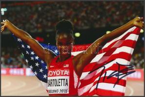Tianna Bartoletta olimpiai bajnok atléta saját kézzel aláírt fotója / Autograph signed photo of Olympic Games contestant 16x10 cm