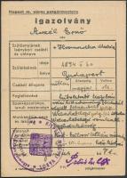1945 Kispest, Katonai tábori lelkész számára kiállított fényképes igazolvány