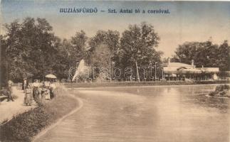 Buziásfürdő, Buzias; Szent Antal tó, korzó, kiadja Francz József / lake, corso