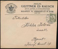 1901-1914 3 db céges levél, az egyik G.R.B. céglyukasztással, 1 db helyi expressz, 36f bérmentesítéssel