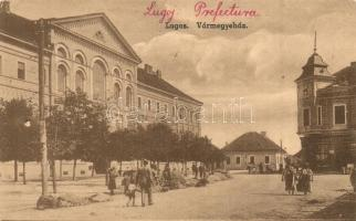 Lugos, Lugoj; Vármegyeház, piac / county hall, market