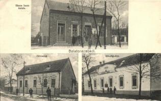 Balatonszabadi, Ekecs Imre üzlete, Orvoslak, Községháza, Kálmán fényképész kiadása (EK)