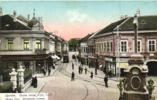 Újvidék, Novi Sad; Duna utca, villamos, üzletek, sírkőraktár, Ivkovic Milán üzlete / street, tram, shop, tombstone warehouse