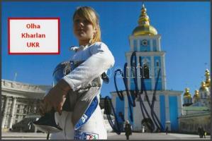 Olha Kharlan olimpiai bajnok vívó saját kézzel aláírt fotója / Autograph signed photo of Olympic Games contestant 16x10 cm
