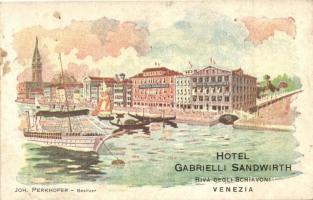 Venice, Venezia; The Hotel Albergo Gabrielli, formerly known as Hotel Sandwirth, owned by Joh. Perkhofer, steamship