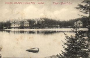 Tátra, Magas Tátra, Vysoké Tatry; Csorba tó, Augusten és Maria-Theresia villa / lake, villas (b)