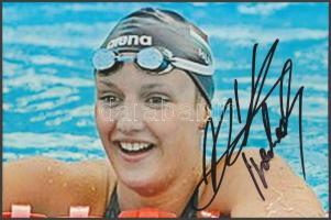 Hosszú Katinka olimpiai bajnok úszó saját kézzel aláírt fotója / Autograph signed photo of Olympic Games contestant 16x10 cm