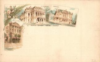 Budapest, Nemzeti Színház, Opera, Népszínház, 5 Kr. Ga. floral litho