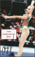 Yana Kudryavtseva olimpiai bajnok ritmikus gimnasztika versenyző saját kézzel aláírt fotója / Autograph signed photo of Olympic Games contestant 16x10 cm