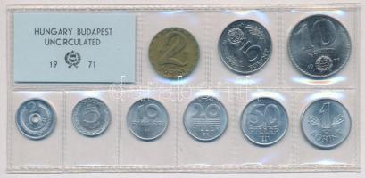 1971. 2f-10Ft (9xklf) érmés forgalmi sor fóliatokban T:1
