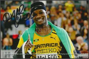 Omar McLeod olimpiai bajnok atléta saját kézzel aláírt fotója / Autograph signed photo of Olympic Games contestant 16x10 cm