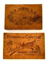 Két cégéres fa bonon doboz tető. Kugler Henrik, Lindt & Sprüngli