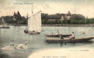 Palicsfürdő, Palic; Korzórészlet, tó, csónakázók, kiadja Víg Zsigmond Sándor / corso, lake, boat