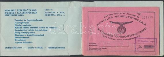cca 1930 MÁV vasúti menetjegyfüzet