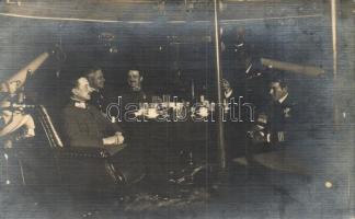 1916 Haditengerész tisztek estélye az SMS Panther K. u. K. haditengerészet torpedócirkálójának fedélzetén, köztük Köves / K.u.K. Kriegsmarine torpedo cruiser, naval officers evening party on board with Köves, photo