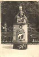 1952 Rogaska Slatina Tempel ásványvíz reklámlapja eredeti fotón / mineral water advertisement card, Tonka photo (EB)