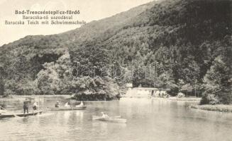 Trencsénteplic-fürdő, Trencianske Teplice; Baracska tó, uszoda, csónakázók, kiadja Wertheim Zsigmond / lake, swimming pool, boats