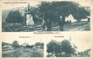 Wildendürnbach, Galgenberg mit Weinkellereien, Straßenpartie, Kirchenplatz / winery, wine cellars, street, church, square (EK)