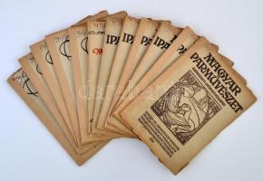 1911-1913 A Magyar Iparművészet c. újság 12 db száma, kettő kivételével jó állapotban.