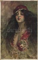 6 db régi Kiss Rezső művészlap ismétlődőkkel / 6 pre-1945 Kiss Rezső signed art postcards with repeating cards