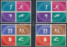1960 Olimpia fogazott és vágott sor négyestömbökben Mi 1166-1173 A+B
