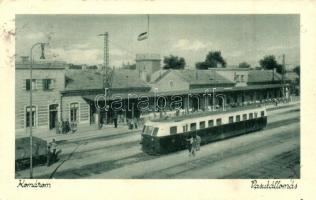Komárom, Komárno; Vasútállomás, vonat. Hacker Dezső / railway station, train (Rb)