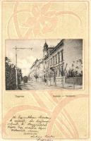 Sopron, Deák tér, villamos, Art Nouveau, Blum N. kiadása (EK)
