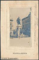 1905 Komárom, Komárno; Klapka szobor, Czike Dénes / statue, glued photo (vágott / cut)