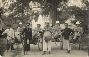 1922 Lang Son, soldiers, rickshaw, photo (EB)