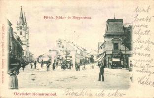 Komárom, Komárno; Fő tér, Nádor és Megye utca, Stettler és Mészáros András üzlete / square, streets, shops
