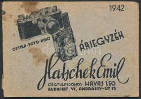 1942 Bp., Hatschek Emil Optika Foto Kino árjegyzék, ábrákkal illusztrált, 63p