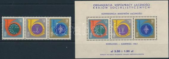 1961 Postaminiszterek konferenciája sor hármascsíkban Mi 1244-1246 + blokk 24
