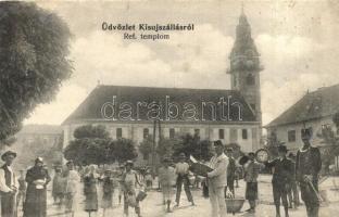 Kisújszállás, Református templom, mozgalmas képeslap. Nagy Gyula kiadása (r)