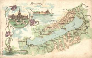 Keszthely, Balaton térkép. Károlyi Gy. litho (r)