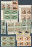 1953 Derdei állatok sor 4-es tömbökben és 1959 Madarak sor