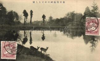 2 db RÉGI japán városképes képeslap, park / 2 pre-1945 Japanese townview postcards, park