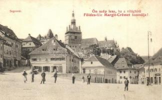 Segesvár, Schässburg, Sighisoara; Felső piac sor, H. Girscht üzlete, Földes-féle Margit-Creme reklám / market, shop, cream advertisement
