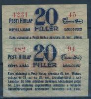 Budapest 1920. 20f (2x) kék illetve fekete betűs változatok, hajtatlanok, a fekete betűsön szamárfül és kis szakadás T:I-II