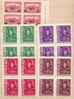 1933-1935 Kisegítő bélyeg (III.) 4-es tömb + Rákóczi Ferenc és Pázmány Péter sor 4-es tömbökben