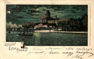 1899 Esztergom, Bazilika este. Regel & Krug litho