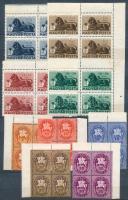 1946 7 db klf kiadás 4-es tömbökben, közte Bélyegjubileum, Lovasfutár, Milliós, Billiós, stb. 2 db közepes berakólapon