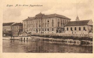 Lugos, Lugoj; M. kir. állami főgimnázium, Klein Miksa üzlete, kiadja Auspitz Adolf / grammar school, shop (EK)