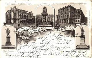 1899 Budapest, Fővárosi Vigadó, Deák, Petőfi és Eötvös szobor, Tudományos Akadémia, floral, litho