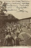 1905 Nagyvárad, Oradea; fürdőző fiúk / bathing boys, spa, photo (ragasztónyomok / glue marks)