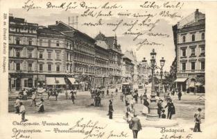 Budapest VI. Oktogon és Teréz körút, Komlódi Jakab és Ernyei Lajos uzlete, cukrászda, villamos (EB)