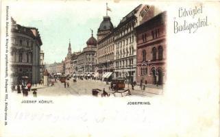 Budapest VIII. József körút, Hotel Rémi, villamosok, kiadja Sinnreich Zsigmond (EK)